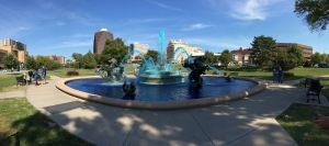 Pano of the awesome fountain turned blue for the Royals.